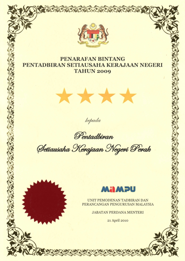 The Official Portal of The Perak Government - Awards Achieved